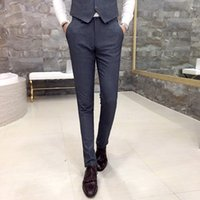 Wholesale Good Dress Pants - high-quality goods cotton fashion Pure color Men's leisure formal business suit pants   Male Black gray casual dress suit pants