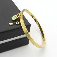 Wholesale Couples Lock Key Bracelet - New Titanium Steel Locking Keys Heart-shaped Bracelet 18K Gold Rose Gold Titanium Steel Bracelets Couple Jewelry Gift