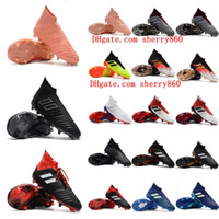 Wholesale outdoor ankle soccer shoes online - 2018 top quality mens soccer cleats Predator FG soccer shoes Predator high ankle football boots outdoor scarpe da calcio Blackout