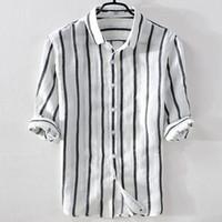 chemises en lin blanc achat en gros de-Chemise en lin pour hommes Chemise décontractée à rayures blanches Chemise à col rabattable pour hommes