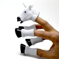 Wholesale toy feet finger resale online - four footed Unicorn flying horse Finger Puppet Set Toy New interesting Tell story white and black children love to play interactive toys