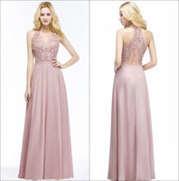 Wholesale real stone flooring - Halter Chiffon Long Prom Dresses 2018 Real Image V Neck Lace Beaded Stones Formal Party Evening Special Occasional Dresses CPS883
