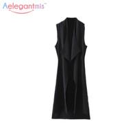 ingrosso lungo cappotto nero sleeveless-Aelegantmis Fashion Blazer asimmetrico Black Long Vest Women Longized Summer Gilet Cardigan Sleeveless Jacket Coat 2017