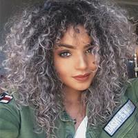 свободные человеческие волосы парики оптовых-Мода Ombre бразильский человеческих волос 1b серый кудрявый вьющиеся девственные человеческие волосы полный парик кружева для черный Бесплатная доставка