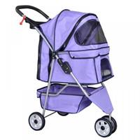 Wholesale cloth dog carriers resale online - Purple Pet Stroller Cat Dog Cage Wheels Stroller Travel Folding Carrier T13