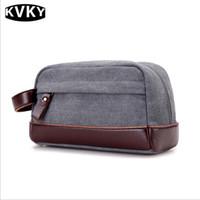 bolsa de lona para hombre al por mayor-KVKY para hombre, día, embrague, pequeño, sobres, embrague, carteras, macho, monedero, diseñador, lona, bolsos de mano, dinero, bolsillo, bolsa, negro, marrón, gris, color caqui