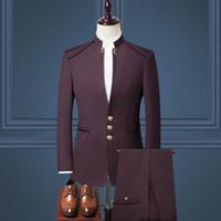 pañuelos azul real al por mayor-Traje chino de cuello alto para hombre traje de tres piezas (chaqueta + pantalón + chaleco) traje formal de negocios para hombre novio de boda vestido de padrino de boda