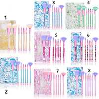 Wholesale 8 Styles Glitter Crystal Makeup Brush Set Set Diamond Brush Highlighter Brushes Concealer Make Up Brush Tool kits with Bag