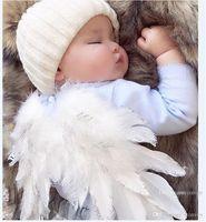 Wholesale baby wings photo - Baby Angel Wing + rhinestone elastic headband Photography Props Set newborn Pretty Angel Fairy white feathers Costume Photo headband BHB37