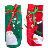 подарочные пакеты для бутылок оптовых-Christmas Home Decoration Snowmen Red Wine Bottle Bags Christmas Decorative Bags Gift Wine Bottle Cover Bag A10