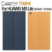 flip cover schlaf großhandel-Original Offizielle Flip Ledertasche für Huawei Mediapad M3 Lite Sleep Wake Stand Tablet Cover für HUAWEI M3 Lite Fall 8.0 / 10.1