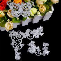 kelebek şablonlar toptan satış-Zihinsel Çiçek Kelebek karbon çelik Kabartma Araçları Kesme Ölür Şablonlar Çelik Kesici Kalıp Albümü Dekoratif Craft Ölür