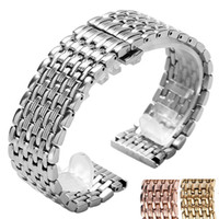 застежка 22мм сталь оптовых-2018 New Arrival 18mm 20mm 22mm Butterfly Clasp Silver/Golden/Rose Golden Stainless Steel Watch Band Replacement Strap for Men