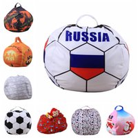 Wholesale cups mats - Stuffed Animal Storage Bean Bag 53 Styles 46cm Football World Cup Chair Portable Kids Toy Storage Bag Play Mat Clothe Bag Organizer OOA5089