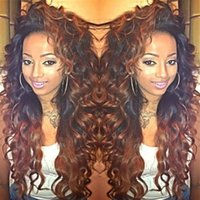Wholesale brazilian loose wave lace wig - Peruvian Remy Hair Ombre Human Hair Lace Wigs Pre Plucked 150% Density Glueless Lace Front Wig For Women With Baby Hair
