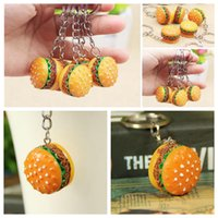 Wholesale food lovers - Simulation Food Hamburger Pendant Keyfob Keyring Car Phone Bags Charm Key Ring Key Chain EEA161 200pcs