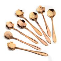ingrosso cucchiai di fantasia-Cucchiaini fantasia in titanio placcato in oro rosa, cucchiaini per fiori in oro rosa, cucchiaini di caffè in fiore sulla promozione