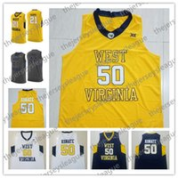 camiseta de baloncesto del oeste al por mayor-Mountaineers de West Virginia # 21 Wesley Harris 44 Jerry West 50 Sagaba Konate Gris Azul marino Amarillo Negro cosido NCAA College Basketball Jersey