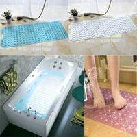 Wholesale suction cup pvc bath mat - New Bath Shower And Tub Mat PVC Anti-slip Bathtub Mat With Suction Cup Home Decor 40*100cm 6Colors WX9-592