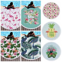 Wholesale camping rugs - 7 Styles 150cm Flamingo Printed Round Tassel Beach Towel Women Shawl Tablecloth Picnic Rugs Yoga Mat Round Beach Towel CCA9696 6pcs