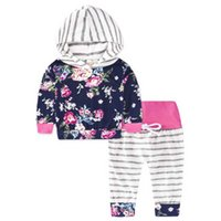 Wholesale light hood - Spring Toddler Baby Clothes Infant Toddler Boy Girl with Long Sleeve with Hood Top + Trousers 2 Pcs. Children's Suit