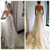 Wholesale wedding dress pockets spaghetti straps resale online – 2018 Spaghetti Straps Lace A Line Wedding Dresses Sleeveless Tulle Applique Bohemian Summer Beach Wedding Bridal Dresses With Pockets