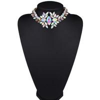trajes de madre al por mayor-Precioso collar de diamantes de imitación, gargantilla de cristal corta, bisutería, collar, 3 colores 1pc para regalo del día de la madre