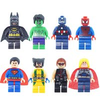 Wholesale wholesale superman toys - Super Heroes Avenger Minifigure Wolverine Batman Superman Spider Man Hulk Building Blocks Toy Brick Mini Toy Action Figure