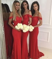 Wholesale off shoulder lace for wedding dress for sale - Group buy 2018 Cheap Red Off Shoulder Long Bridesmaid Dresses For Wedding Lace Applique Mermaid Beaded Zipper Back Custom Sweep Train Bridesmaid Gowns
