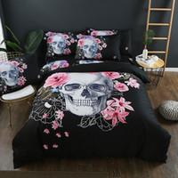 skull bedding оптовых-3шт постельные принадлежности комплект 3D печать постельные принадлежности комплект кровать одежда 3D череп крышка Утешитель комплект простыни наволочки