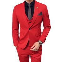 homens smoking traje branco venda por atacado-Ternos de Casamento dos homens 2019 Ternos Vermelhos Dos Homens Oranje Pak Heren Azul Royal Partido DJ Stage Terno Terno Slim Fit Smoking Branco