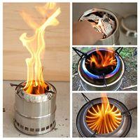 brennen herd großhandel-Portable Edelstahl Holzofen Campingkocher
