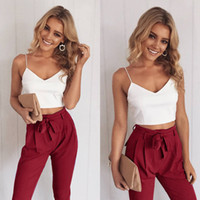Wholesale deep v neck tops women - Fashion Summer Black Blue Sleeveless Deep V Neck Tops with Pants Women Two Piece Pants Size S-XL