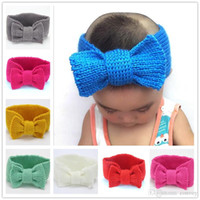 Wholesale fashion crochet headbands - 15 inches Fashion Baby Girls Wool Crochet Warm Headband Knit Hairband With Big Bow Winter Newborn Infant Ear Warmer Head Headwrap KHA20