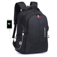 17 bolsas de ordenador portátil para hombres al por mayor-Mochila de nylon impermeable suiza Unisex Cargador de teléfono portátil para hombres Mochila Bolsos escolares escolares Viajes de 15 a 17 pulgadas