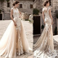Wholesale Mermaid Detachable Skirt - 2018 Champagne Lace A Line Wedding Dresses Sheer Tulle Applique Over skirts Bow Sash Wedding Bridal Gowns with Removable Skirts