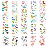 ingrosso tatuaggi temporanei di cartoni animati-20pcs adesivi dinosauro 3D Cartoon colorato tatuaggi adesivi bambini temporanea Flash Tattoo pasta bambino viso corpo braccio Tatoo regali