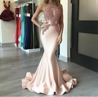 ingrosso abito rosa abito da cocktail-Splendido arrossire rosa arabo sirena abiti da sera 2018 Satin Fishtail corsetto illusione Prom Dresses per le donne plus size abiti da sera formale