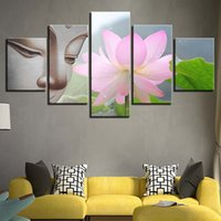 Wholesale art lotus oil painting for sale - Group buy Unframed Pieces Lotus Flower Buddha Oil Painting On Canvas Modern Buddhism Wall Art Modular Picture For Home Office Decor Bedroom Poster