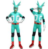 Wholesale fairy costumes baby - Boku no Hero Academia Cosplay suit 3Pcs Set Midoriya Cosplay Costume Battle Suit unicorn Baby suit EEA495 5PCS