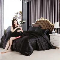 Wholesale Felt Sheets - imitate silk feel satin solid black white purple bedding set single queen size king duvet cover set bedclothes bed sheet