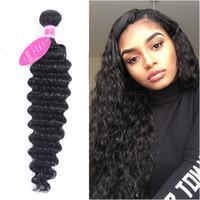 siyah saç uzatmalar 18 inç toptan satış-Derin Dalga İnsan Saç Örgüleri Demetleri Jet Siyah 100% Remy Saç Uzantıları Atkı Kıvırcık Saç 28 Inç Demetleri