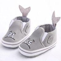 детские туфли на резиновой подошве оптовых-Infant Toddler Baby Boy Girl Soft Sole Crib Shoes Non-slip Sneaker Newborn Kids Lovely Monster Shoes Casual Babies Canvas