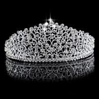 Wholesale gorgeous wedding hair for sale - Gorgeous Sparkling Silver Big Wedding Diamante Pageant Tiaras Hairband Crystal Bridal Crowns For Brides Prom Pageant Hair Jewelry Headpiece