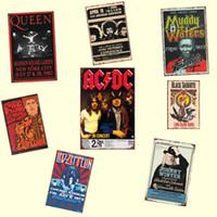 placas de estanho à venda venda por atacado-Venda quente Música Banda de Rock ACDC Retrol sinal de lata placas de Metal Presente PUB Arte da parede Pintura Cartaz Bar casa Restaurante Decoração