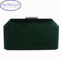 kadife debriyajlar toptan satış-Koyu Yeşil Kadife Hard Case Kutusu Debriyaj Akşam Çanta ve Debriyaj Çantalar Çanta Omuz Zinciri ile Topu Parti Balo için
