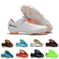 мужчины обувь футбол ronaldo оптовых-Оригинальные белые мужские футбольные бутсы Mercurial Superfly CR7 мужские футбольные бутсы высокие лодыжки Криштиану Роналду классические футбольные бутсы Eur 40-46