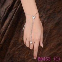 ingrosso catene di polso slave-3pcs cristallo farfalla schiavo catena a maglie anelli per le donne polso da polso a mano argento gioielli fascino partito b0453