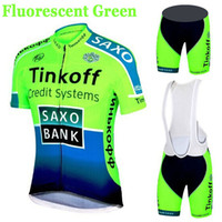 Wholesale fluorescent jerseys - Hot Sale SaxoBank Tinkoff Cycling Jerseys Quick-Dry Ropa Ciclismo Cycling Clothing Breathable Cycling sportswear Fluorescent green