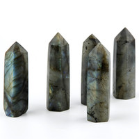 Wholesale marriage ornaments - Natural Labradorite Blue Yellow Point Sceptres 70mm Natural Chakra Healing Crystal Reiki Stone Carved Art Carfts Free Pouch
